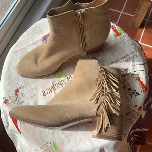 BR tan suede fringed booties size 6M